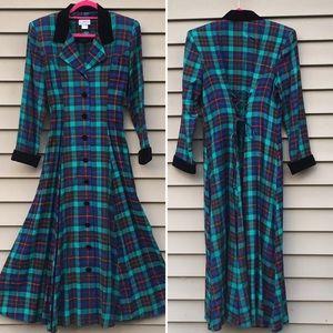 Vintage 90s plaid dress rayon sz 10